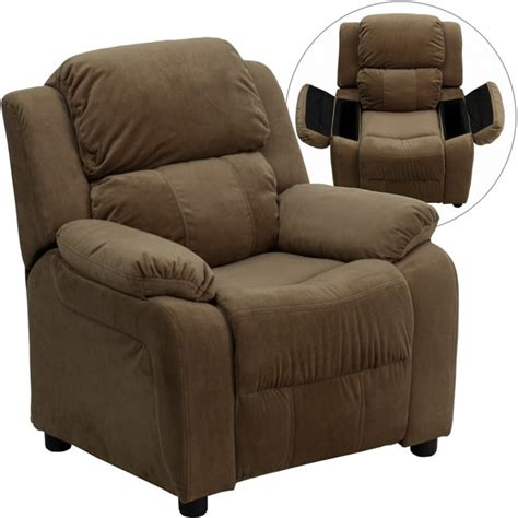 Brown Recliner by Deluxe Heavily Padded Brown Microfiber Recliner With Storage Arms Free