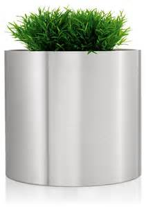 planters and pots greens round stainless steel planter 15 75 quot modern