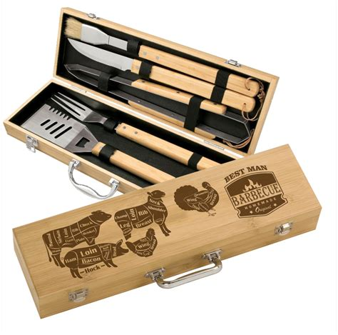 engraved grill set bamboo 5 piece bbq gift set personalized