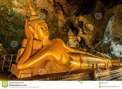 temple of reclining buddha reclining buddha suwankuha temple phuket thailand stock