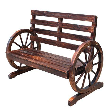 wheel bench foxhunter wooden garden wheel bench 2 seat seater burnt