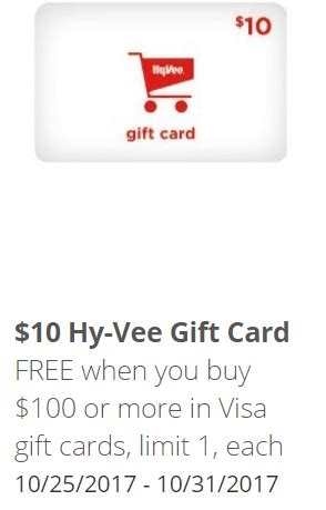 Visa Gift Card Deal - hy vee visa gift card deal get 10 gc when you purchase 100 vgcs danny the deal guru