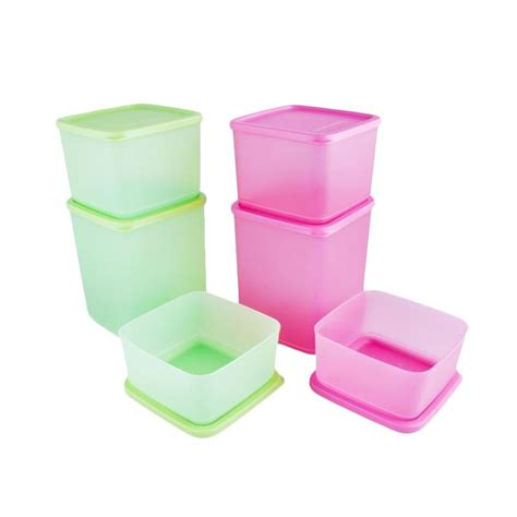 Tupperware Kotak Jual Tupperware Summer Set Kotak Penyimpanan Pink Green 6 Pcs Harga Kualitas