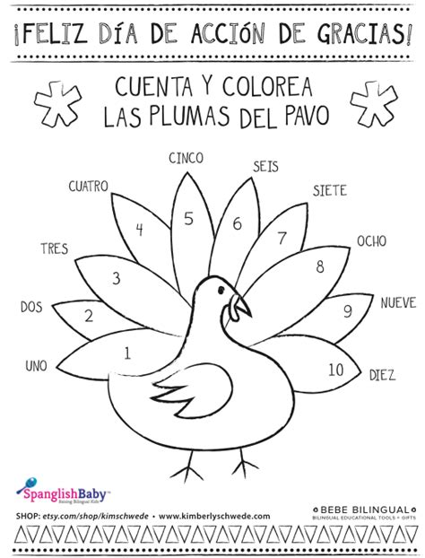 Turkey Coloring Page Spanish | spanish thanksgiving coloring sheet on http