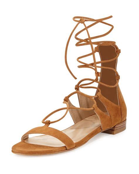 camel gladiator sandals stuart weitzman tie up suede gladiator sandal camel