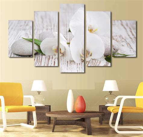 zen home decor store 5 pieces canvas prints white orchid pebbles zen buddha