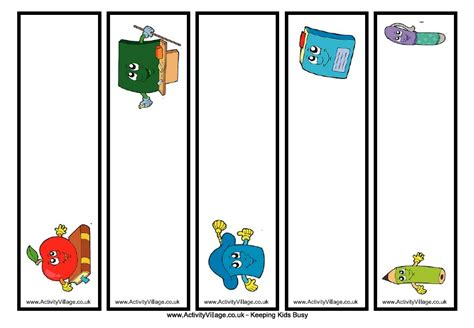 printable school bookmarks kids bookmark template