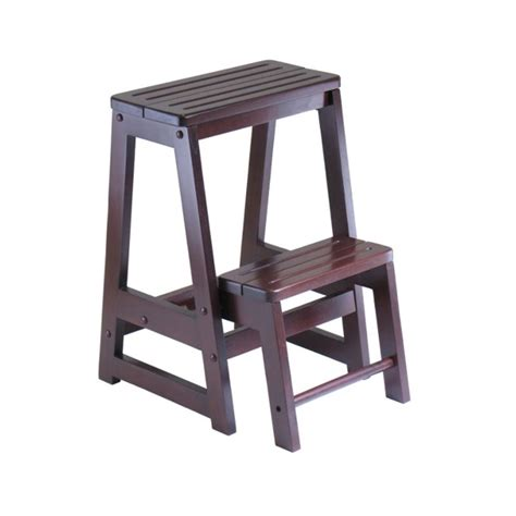Winsome Stool by Winsome Wood Convertible Step Stool Antique Walnut 94022