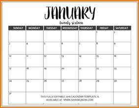 free word calendar template free editable calendar fully editable january 2016