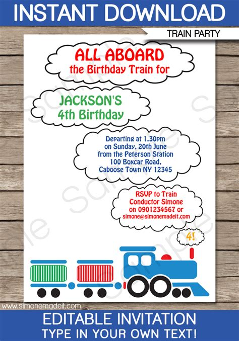 train party invitations template train birthday party