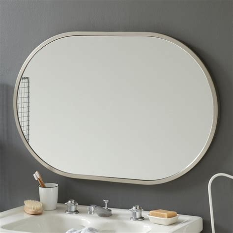 brushed nickel wall mirror bathroom metal oval wall mirror brushed nickel modern wall