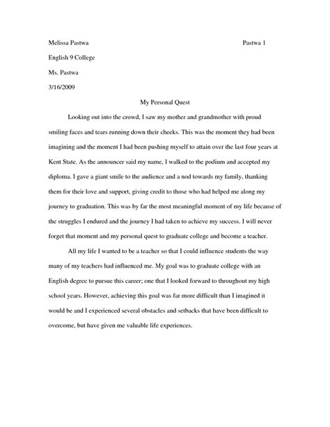 College Personal Narrative Essay Exles by Personal Narrative Essay Exles Essays