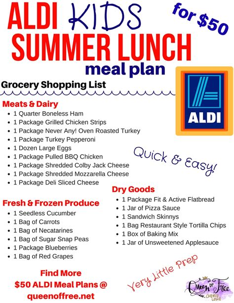 aldi printable shopping list 50 aldi summer lunches for kids meal plan queen of free