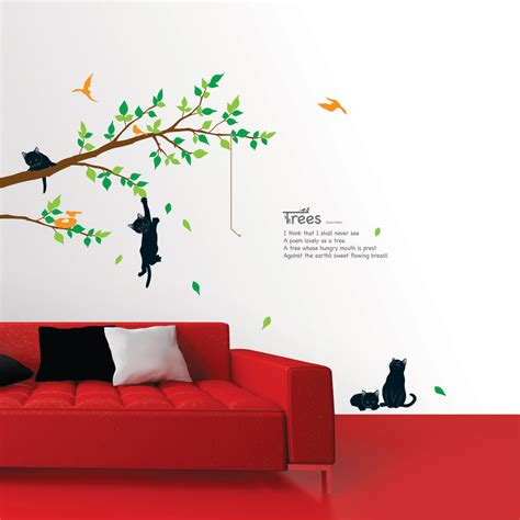 Self Adhesive Wall Decoration Sticker cats on the tree wall stickers wallstickery com