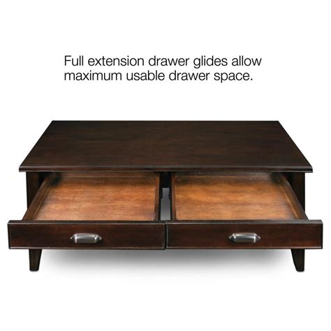 leick laurent 2 drawer coffee table cherry