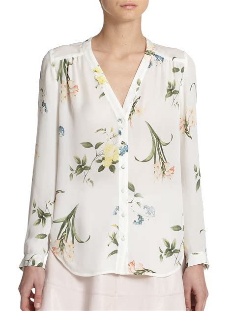 Gorgeous Botanical Print Tops by Joie Yvetta Silk Botanical Print Top Lyst