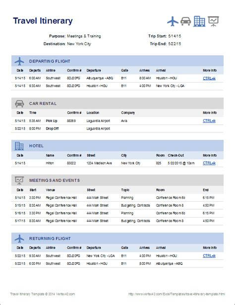 excel itinerary template travel itinerary template