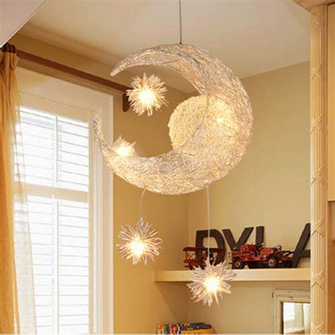 Childrens Bedroom Ceiling Lights Modern Led Chandelier Lighting Moon Sweet Bedroom Pendant L Lustre Hanging Fixtures