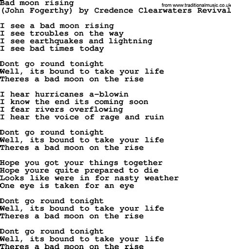 moon lyrics bruce springsteen song bad moon rising lyrics
