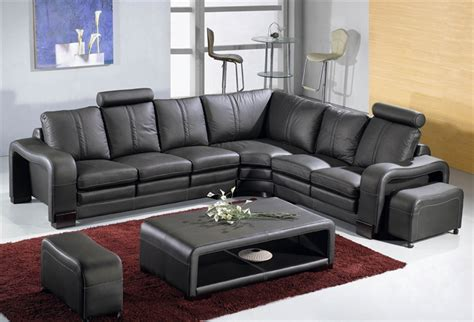 Black Leather Sofa Set Price Modern Leather Sectional Sofa Set Table Tos Lf 3330 Black