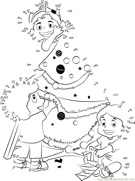 decorating tree dot to dot printable worksheet connect the dots