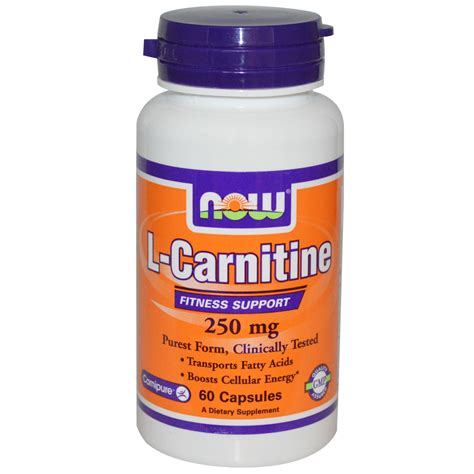 supplement l carnitine now foods l carnitine 250 mg 60 capsules iherb
