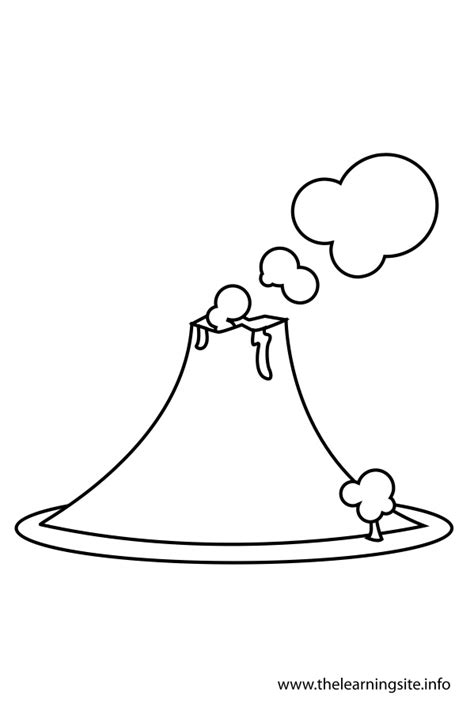 volcano outline template free coloring pages