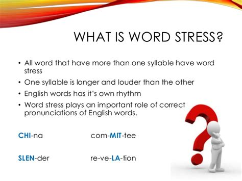 guidelines in word stress word stress