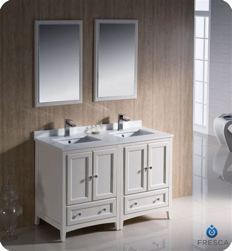 Two Vanities In Bathroom 48 Quot Fresca Oxford Fvn20 2424aw Traditional Sink Bathroom Vanity Antique White