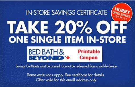 bed bath and beyond track order bed bath beyond 20 off 1 item printable canadian