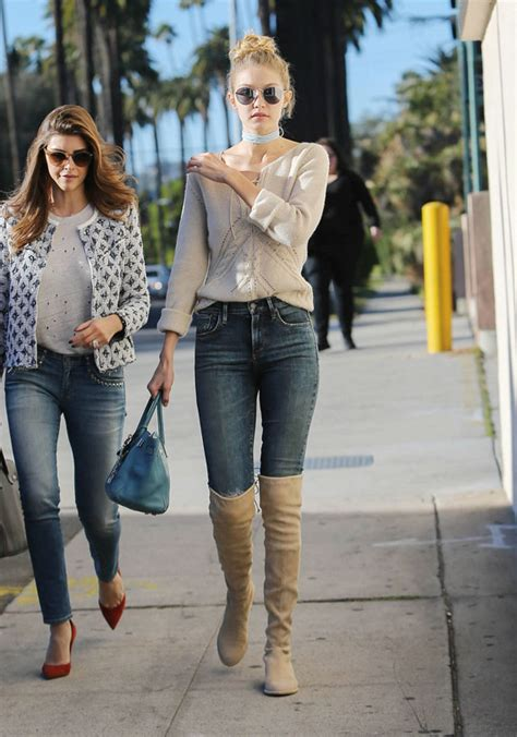 casual hairstyles with jeans gigi hadid s look for less boots pinterest knee boot