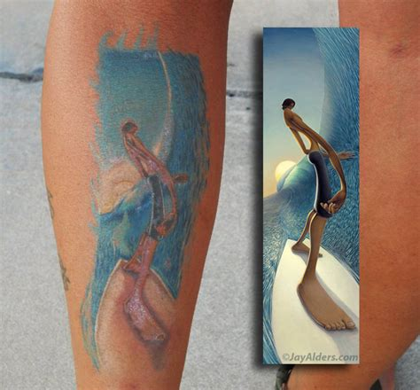 surf tattoos tattooed fans alders surf figurative and