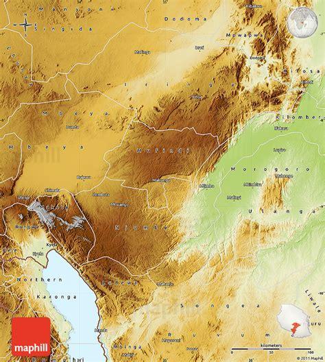 physical map of tanzania physical map of iringa