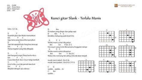 cara bermain gitar slank terlalu manis gambar kunci gitar lengkap dengan lirik lagu