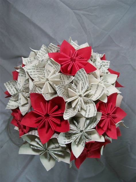 Paper Origami Flower Bouquet - book paper flower bouquet flowers origami kusudama