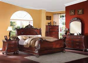 Contemporary cherry finish 4 pcs bedroom set queen bed mirror dresser