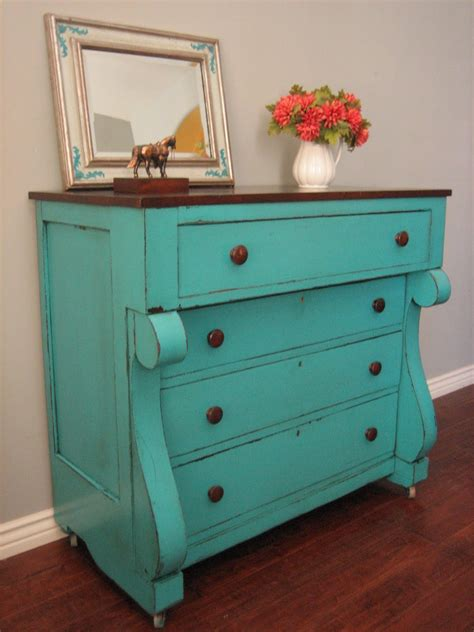 Turquoise Distressed Dresser by European Paint Finishes Teal Chest Of Drawers