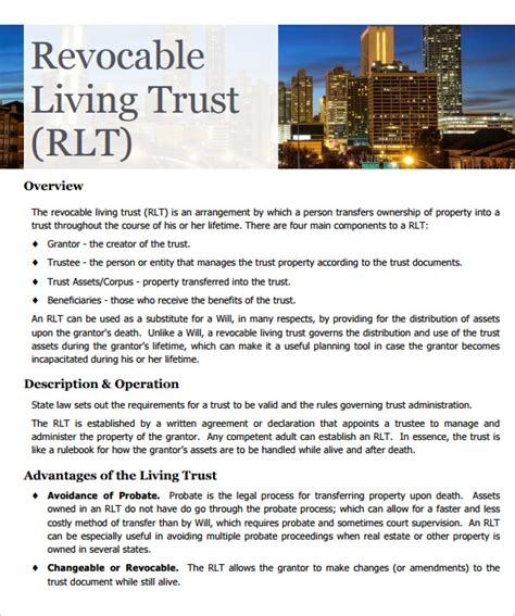 living revocable trust template sle living trust form template 10 sles exles