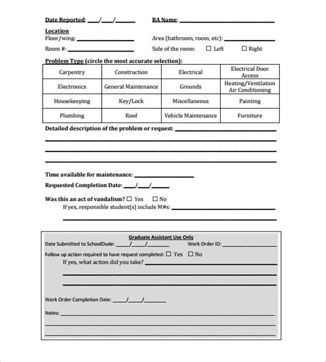 Contractor Work Order Form Oursearchworld Com Contractor Request For Template