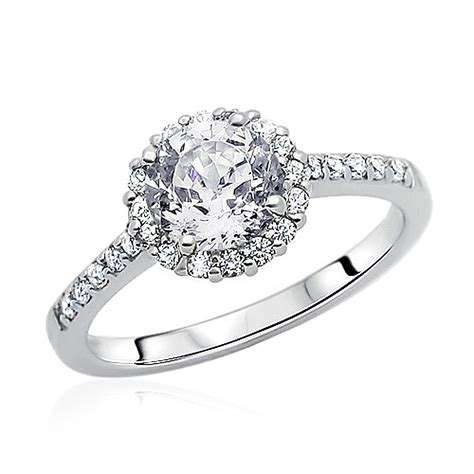 10mm rhodium plated silver wedding ring cz solitaire halo