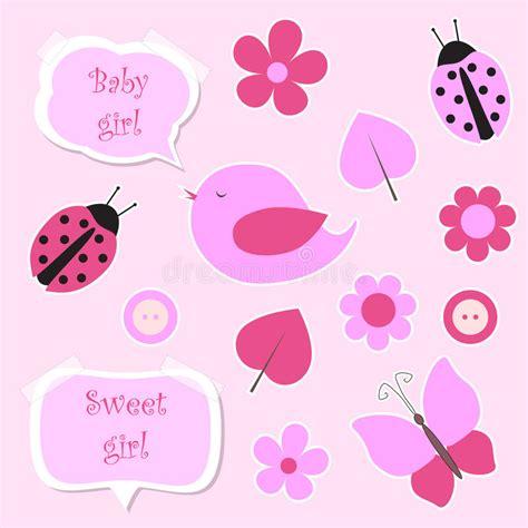 Girlset Pink set of pink scrapbook elements for baby stock vector