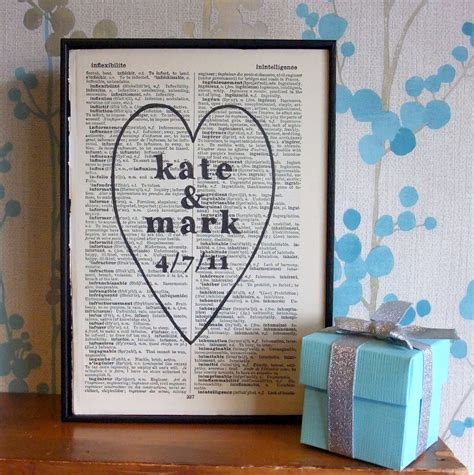 Personalized Wedding Gift Heart Names And Date On Vintage