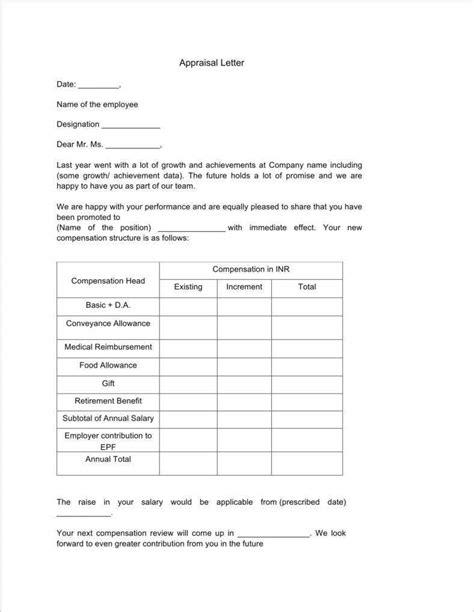 appraisal letter formats downloads