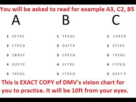 printable ca dmv eye chart dmv vision test for class c vehicles youtube