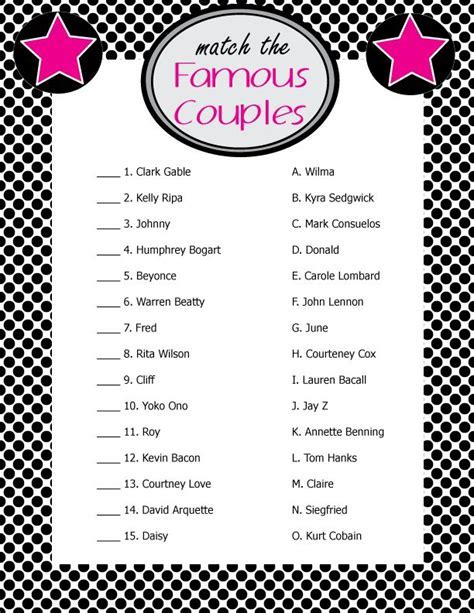 "Printable Bridal Shower Game ""Match the Famous Couples"