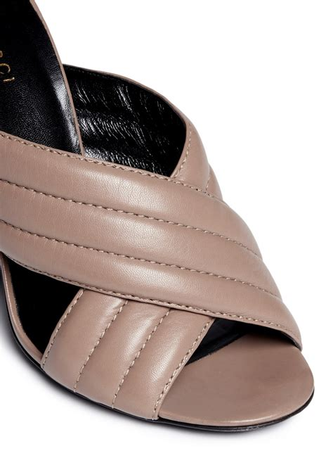leather mule sandals lyst gucci webby ribbed crisscross leather mule