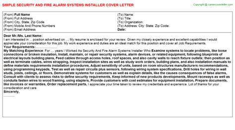 Security Technician Cover Letter by Alarm Technician Cover Letters Sles