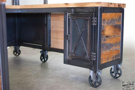 Roll Top Desk Oak Reclaimed Wood Amp Steel Reception Desk Real Industrial