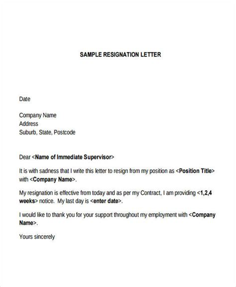 resignation letter format marvelous sle immediate 28
