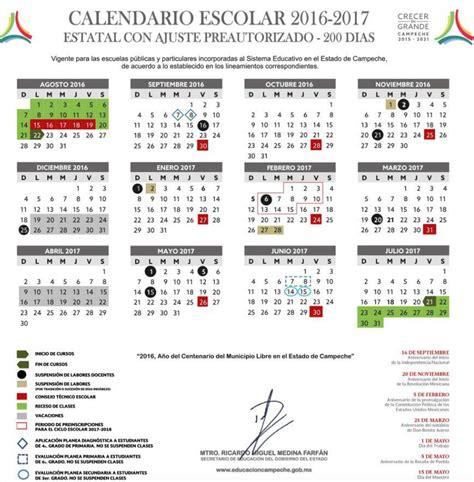 calendario sep ciclo 2016 2017 calendario de clases del ciclo escolar 2016 2017